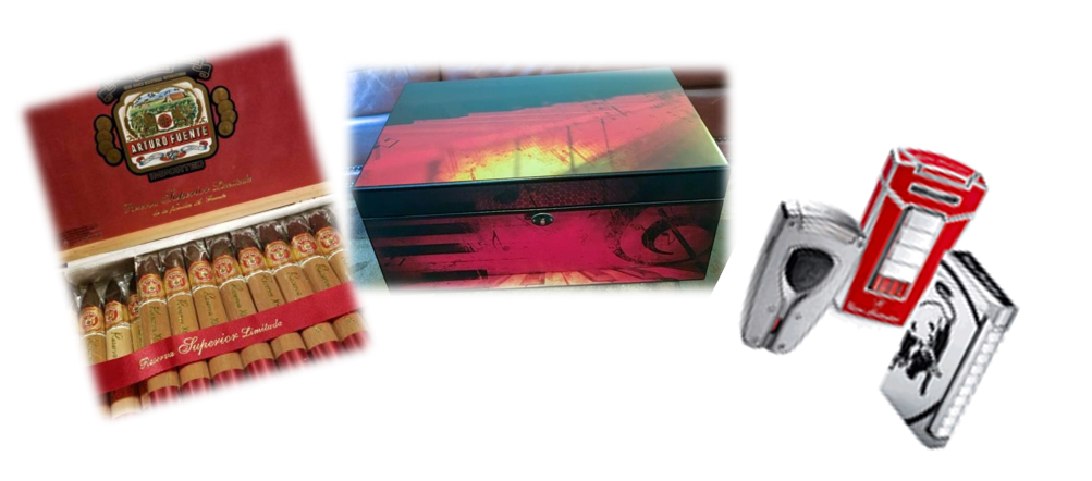 box of arturo fuente cigar, red piano keys humidor, 3 lighters
